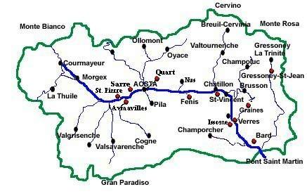 Valle D Aosta Cartina Geografica Politica.I Castelli In Valle D Aosta